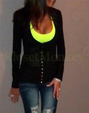 SEXY LOW CUT V-NECK SNAP SOLID BLACK L/S CARDIGAN LIGHT WEIGHT JACKET KNIT TOP S