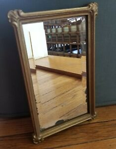 Vintage Gold Framed Accent Mirror Homco 1985 Shabby Worn Antique Style