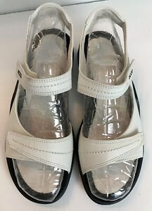 ECCO Light White Leather Hook & Loop Adjustable Sandals #16523 Sz 39, 8-8.5
