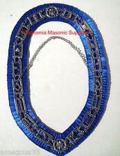 Master Mason Blue Lodge  Collar Silver finish Silky Royal Blue Satin Backing