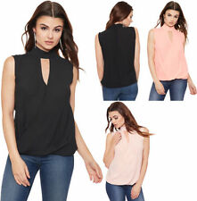 Basic Tees Solid Sleeveless T-Shirts for Women