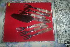 COUVERT A GATEAU 7 PIECES PERIODE 1970 MARQUE PRADEL pelle a tarte +fourchettes
