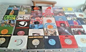 """50 X 1970/80s 7"""" Vinyl Single Records A-B. EXC/VG Sleeved  SEE 10 Images (LOT 4)"""