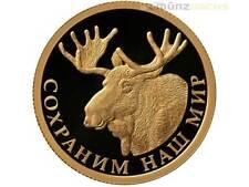 50 Rubli Save our World Alce alce Moose Russia 1/4 oncia Oro PP 2015