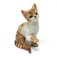 Figurine Dollhouse Miniatures Collectible Ceramic Brown Tiger Cat Figure