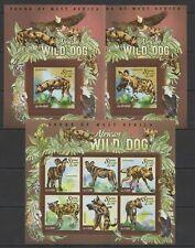 ST587 2015 SIERRA LEONE ANIMALS FAUNA WILD DOGS KB+2BL MNH STAMPS