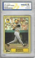 Barry Bonds 1987 Topps Rookie Card No 320 Graded by WCG 10 Gem Mint