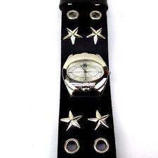 X Fly Wrist Watch Star Studs Eyelets Leather Watchband Quartz Analog