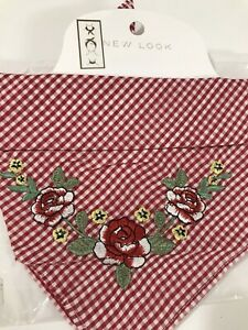 New Look Red Gingham Floral Embroidery Rockabilly Bandana head Hair band scarf
