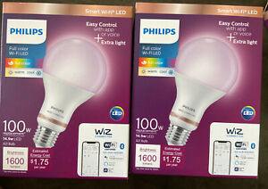 Philips 100W Wi-Fi Smart LED Bulb, Dimmable A21 Wireless Full Color (LOT OF 2)