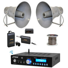 "Pyle 11"" PA Horn Speakers, Lavalier Microphone Set, Wire, Bluetooth Amplifier"