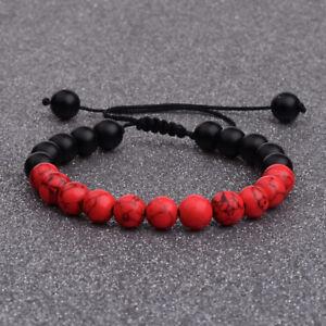 Man's Onyx Beaded Yoga Red Turquoise Bracelets Mala Energy Bracelets Adjustable