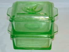 2 HAZEL ATLAS Uranium Green Depression Glass Refrigerator Dish w Lid