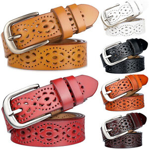 Pin Buckle Belt Ladies Genuine PU Leather Jeans Hollow Casual Waistband Belts