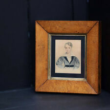 19th Century Watercolour Portrait Miniature of a Handsome Boy in a Walnut Frame.