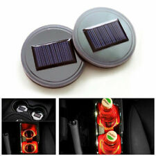 2× Red Set Solar Power LED Cup Holder Pad Universal Car SUV Atmosphere Light Mat