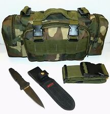 Molle Survival Camping Hunting Pouch & MTech 440 Blade Tactical Throwing Knife