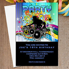 10 Personalised Birthday Girls Boys Disco Party Invitations Invite N5