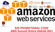$25 AWS Promotional Credit Codes. Event ID : AWS Summit Online ASEAN 2021