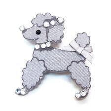 BROCHE petit chien caniche gris argenté strass platsique légère enfant ou adulte