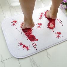 Blood Footprint Bath Mat Door Mat Scary Psycho Horror Style Halloween Decoration