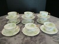 Antique Haviland Limoges Green Turquoise Floral Scalloped Rim 9 Cups & Saucers