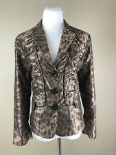CHICO'S NWT $139 Brown Taffeta Ruched Ruffle Lined Lady Leopard Layla Jacket 2