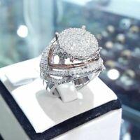 Gorgeous Women 925 Silver Ring White Sapphire Wedding Jewelry Size 5-10