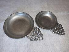 "Wilton ARMETALE Pewter Hollowware Porringer Plough Tavern Dish 4-1/2"" & 5-3/4"""