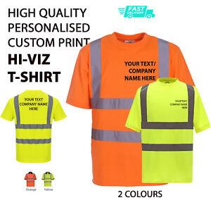 Personalised Hi-Viz/Vis High Visibility T-SHIRT Safety Work Wear Printed TEXT