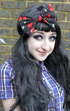 RED CHERRY 50S BIG BOW HAIR FOREHEAD HEAD BAND HIPSTER INDIE GRUNGE ROCKABILLY