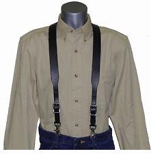 Premium Black Leather Suspenders with scissor snaps  trigger snaps (Special)