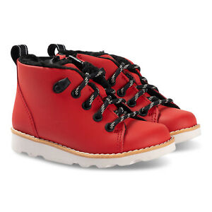 BNIB Clarks Toddler Crown Tor Red Leather Boots G Fitting