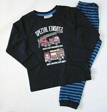 Pyjama Schlafanzug 128 mit Polizei Feuerwehr LKW /& Traktor NEU 100 /% Baumwolle