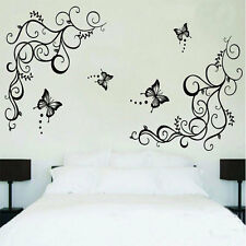 New Large Black Butterfly Wisteria Flower Wall Decal Sticker Mural Home Decor