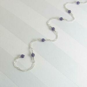 925 Sterling Silver Dark Round Amethyst Women's Fabulous Chain Adjustable Anklet