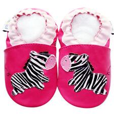 Littleoneshoes Soft Sole Leather Baby Infant Kid child ZebraFuchsia Shoes 6-12M