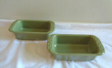 2 Longaberger Pottery Woven Traditions Sage Green Mini Loaf Pans