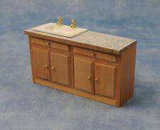 Long Sink Unit Dolls House Miniature Kitchen Furniture, Washing Up 1/12 scale
