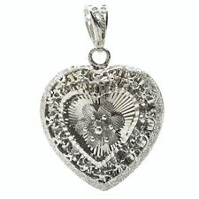 18k solid white gold diamond cut heart and flower pendant 5.4 grams