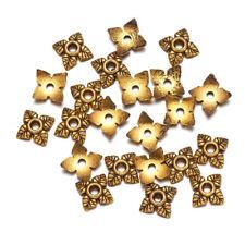 1000pcs Tibetan Alloy Leaf Bead Caps 4-Petal Carved Antique Gold Tiny Craft 6mm
