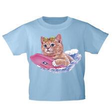Kinder T-Shirt 152-164 mit Print Katzenmotiv Katze mit Surfbrett KA185 hellblau