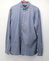 John Varvatos U.S.A. Men's Dress Shirt Blue L/S 16.5  34 / 35  Slim Fit