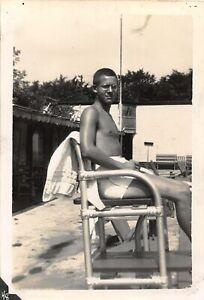 G62/ Vintage Snapshot Photograph Photo 1943 Shirtless Boy Lifeguard Buff 3
