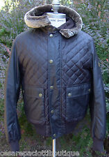 Belstaff Waxed Crayford Hooded Bomber Jacket Blouson Size L Made In Italy Fur