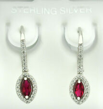 RUBY & WHITE SAPPHIRE DANGLING EARRINGS .925 Sterling Silver * NEW WITH TAG