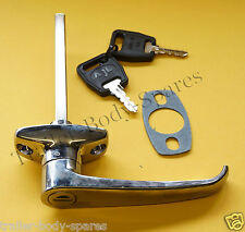 FREE UK Post - Chrome L Handle & 2 Keys for Trailers Horse Box Caravan       #TR