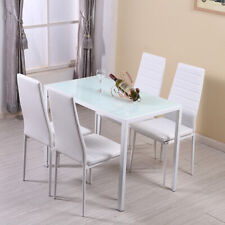 New Quality Glass Dining Table and 6 Chairs Set 140 White Dining Room Furniture