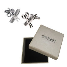 Mens Silver Comb & Scissors Hairdresser Cufflinks & Gift Box - By Onyx Art