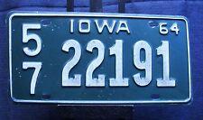 1964 IOWA LICENSE PLATE LINN COUNTY 57 22191